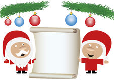 Mr. and mrs. Santa Claus holding a blank paper rol. Happy mr. and mrs. Santa Claus holding a blank vintage paper roll for text or wishes with blue and red glass Stock Image