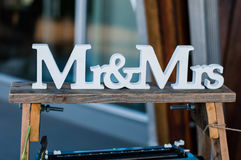 Mr and Mrs sign. On a ladder royalty free stock photos
