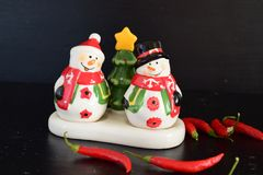 Mr and Mrs Snow man salt and pepper set stock photos
