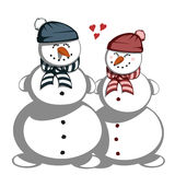 Mr. and Mrs. snowman Royalty Free Stock Image