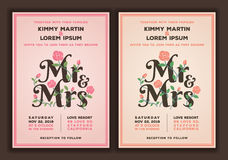 Mr and Mrs title with flower wedding invitations template Stock Photo