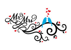 Mr and Mrs wedding birds, vector. Mr and Mrs, wedding birds on swirl with red hearts, vector illustration Stock Photo