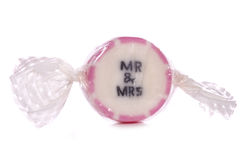 Mr and mrs wedding sweet. Cutout royalty free stock photo