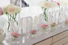 Mr and mrs wedding table decorations Stock Image