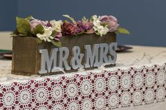 Mr and Mrs Wedding Table Setting stock photo