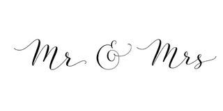 Mr and Mrs words with ampersand. Mister and Missis hand written custom calligraphy isolated on white. Great for wedding invitations design, table decoration Stock Image