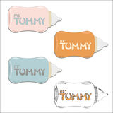 Mr and Ms Tummy lettering on baby bottles. Colors set of flat vector illustration for t-shits and logo Royalty Free Stock Image