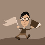 Mr Nerd. Happy young man in glasses walking with a book and a flag Stock Images