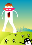 Mr Not so Cool. Vector Illustration with a giant monster and mini monsters Royalty Free Stock Photo