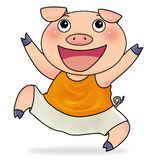 Mr pig. Happy Mr pig smiling and jumping Royalty Free Stock Photography