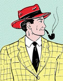 Mr. Pipe. Comic book style illustration of man smoking a pipe Stock Images