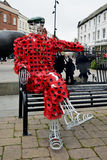 Mr Poppy Man Sculpture, Hereford High Town, Herefordshire. England is a special commemoration of the start of the First World War a century ago. The hand royalty free stock photo