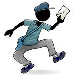 Mr. Postman. Cartoon action icon of people at work - postman Stock Images