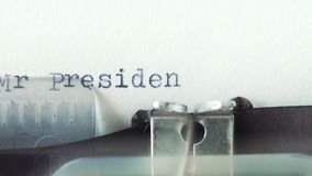 Mr President - Typed on a old vintage typewriter.  stock video