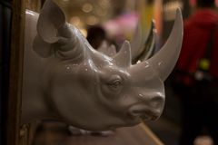 Mr. Rhino. A statue of a rhino I saw at ids15 Royalty Free Stock Photo