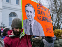 Mr. Rogers sign supports immigration, anti-Trump royalty free stock image