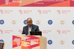 Mr Seyoum Bereded, President of ICT-Ethiopia, delivers a keynote Stock Image