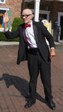 Mr. Six - the mascot of Six Flags Amusement Parks. Mr. Six making and appearance at Six Flags New England. Mr. Six is an advertising character, first featured in royalty free stock photography