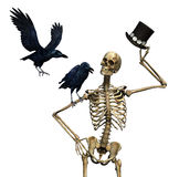 Mr Skeleton with Ravens. Mr Skeleton tips his hat to a pair of friendly ravens - 3D render Stock Photos