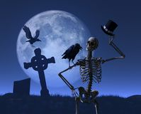 Mr Skeleton Takes a Stroll. Mr skeleton is greeted by a friendly raven while taking a stroll on a moonlit night - 3D render Stock Photos