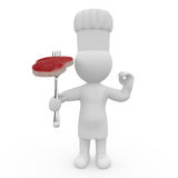 Mr. Smart Guy as a cook with finest steak. 3d figure with finest steak as a cook Stock Photo