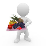 Mr. Smart Guy brings the finest fruits. 3d figure with finest fruits Royalty Free Stock Photo