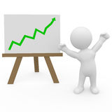 Mr. Smart Guy and the equity boom. Stock graph is booming on whiteboard Stock Photo