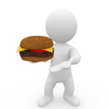Mr. Smart Guy has a big big burger. 3d figure with finest cheeseburger Stock Image