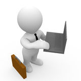 Mr. Smart Guy with his laptop. A business man holding his laptop, standing next to his dispatch case stock illustration