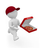 Mr. Smart Guy is a pizza boy. 3d figure as a pizza boy Stock Photos