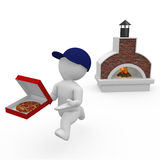 Mr. Smart Guy is a pizza boy. 3d figure as a pizza boy Stock Photography