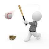 Mr. Smart Guy playing base ball. A 3d playing base ball Royalty Free Stock Photos