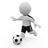 Mr. Smart Guy plays soccer. A 3d figure plays soccer Royalty Free Stock Photo