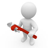 Mr. Smart Guy with plumber. 3d figure with a plumber Royalty Free Stock Photos