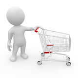 Mr. Smart Guy with shopping cart Stock Photo