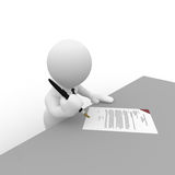 Mr. Smart Guy signing contract Stock Photography