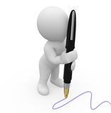 Mr. Smart Guy writing with pen Stock Photography