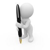 Mr. Smart Guy writing with pen Royalty Free Stock Image