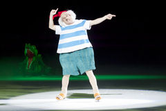 Mr. Smee and Tick Tock. GREEN BAY, WI - MARCH 10: Mr. Smee and Tick Tock the crocodile on skates at the Disney on Ice Treasure Trove show at the Resch Center on stock photography