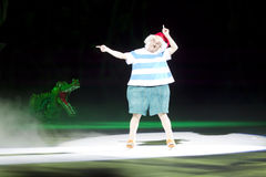 Mr. Smee and Tick Tock Closer. GREEN BAY, WI - MARCH 10: Mr. Smee and Tick Tock crocodile on skates at the Disney on Ice Treasure Trove show at the Resch Center royalty free stock image