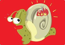 Mr Snail and a fire Royalty Free Stock Images