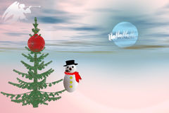 Mr snowman. Snowman in the cold waiting for Santa Claus Stock Photography
