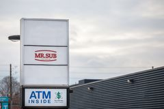 Mr. Sub logo in front of their local Restaurant in Ottawa, Ontario. OTTAWA, CANADA - NOVEMBER 12, 2018: Mr Sub is a fast food chain specialized in sandwiches stock photos