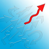 Mr Successful. Red arrow first to reach the high goal than another arrows, conceptual illustration over blue background Royalty Free Stock Images