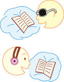 Mr. Sun. Sun with sun glasses reading book and sun with headphone reading book royalty free illustration