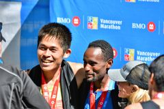 Mr.Yuki Kawauchi won 1st place at Vancouver marathon. royalty free stock photo