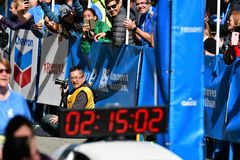 Mr.Yuki Kawauchi won 1st place at Vancouver marathon. Time is 02:15:01.0 royalty free stock photography