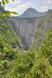 Mratinje dam on the Piva river, Montenegro. Mratinje dam on the Piva river, near the Mratinje town, Montenegro. Dam was built in 1976 year. It's height is 220 m Royalty Free Stock Images