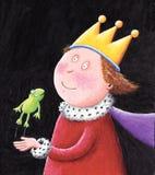Märchen-König, der einen Frosch anhält Stockbild