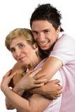 Mère et fils heureux d'adhérence Images libres de droits